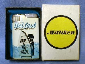 Musical Cigarette Lighter BEL FAST Self-ironing 100% Cotton Advertising - tobacciana NIB