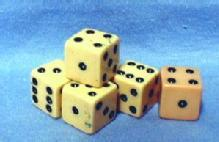 old Vintage original Celluoid Plastic Dice - Group of 5 w/Case - misc