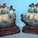 Metal Ship Bookends - Vintage Cast Iron Metalware