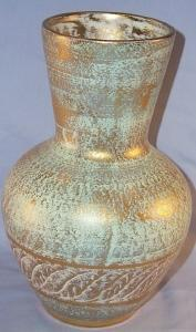 STANGL Dry Brushed Gold Line Pottery Vase