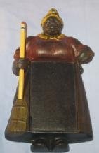 Cast Iron MAMMY MEMO Wall Mounted Note Pad Holder - Ethnographic