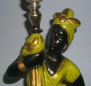 Black Lady Chalkware Electric Lamp - Ethnographic
