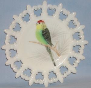 Pretty WESTMORELAND Opaque Glass Hand Painted Red/Green Parakeet Decorative Plate