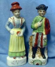 old vintage Japanese Porcelain Figurines - Japan Porcelain Man & Woman