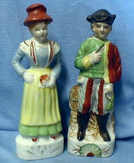 old vintage Japanese Porcelain Figurines - Japan Porcelain Man & Woman