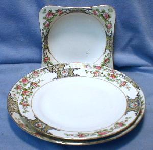 Nippon Porcelain Pottery 3 pc Dinnerware Group