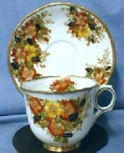 Vintage  Orange & Yellow Flowers Cup and Saucer - Melba Fine English Bone China Porcelain Teacup