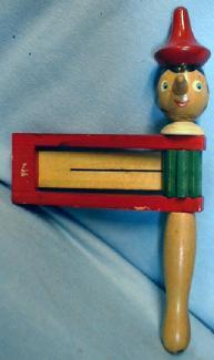 unique Old Pinocchio Noise Maker - Vintage Wooden Toy