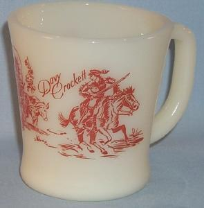 Fire King DAVY CROCKETT Milk Glass Coffee Mug