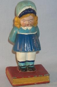 (1)  LITTLE GIRL IN BLUE DRESS Bookend / Doorstop - Metalware