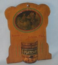 Wooden Hanging Jackson, Mich. Advertising MATCHHOLDER