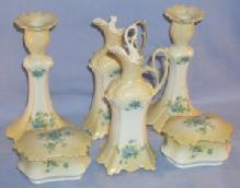 Old Eight Piece VICTORIAN Porcelain Dresser Set