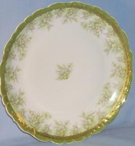 LIMOGES Petite Flower Design on Green Porcelain Plate