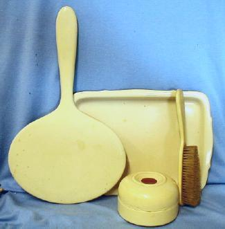old vintage 4pc Dresser Set - French Ivory with Hair Receiver  - Celluloid Vanity Set
