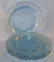 Six Depression Glass Azure Blue FOSTORIA June Salad Plates