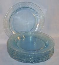 Eight Depression Glass Azure Blue FOSTORIA June Salad Plates
