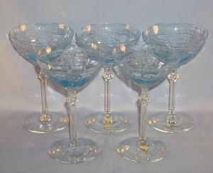 Five Depression Glass Azure Blue FOSTORIA June High Sherbets