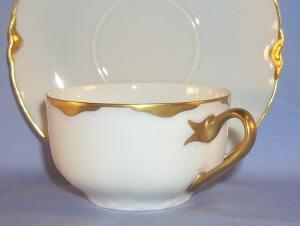 Two Bavarian Gold Trimmed Porcelain Cups and Saucers