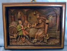 old vintage German Ivorex  Wax Plaque - Monks & Innkeeper