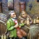old vintage German Ivorex  Wax Plaque - Monks & Innkeeper