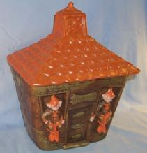 California Originals ELF SCHOOL HOUSE Pottery Cookie Jar