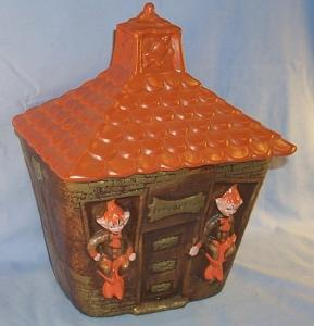 California Originals ELF SCHOOL HOUSE Pottery Cookie Jar