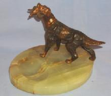 Copper Finished IRISH SETTER Retrieving Pheasant  Marble Ashtray - Tobacciana