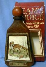 old vintage RED FOX  - Jim Beam Whiskey Decanter - Beam's Choice Collector Edition Volume XIV - Wildlife Sporting Glass Bottle