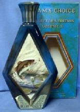 old vintage BASS Fishing - Jim Beam Whiskey Decanter - Beam's Choice Collector Edition Volume X - Fish Sporting Glass Bottle