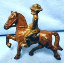 vintage Cast Grey Iron WWI Cavalry TOY SOLDIER ON HORSE - toys