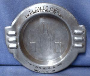 Tobacco Ashtray  La Salle CAFE Cigarette Ashtray - Midland Michigan Advertising