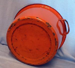 Kitchen  Orange Graniteware Kettle - Enameled Pot - Metalware