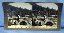 Lumber Mill END OF THE FLUME Stereo View  - Keystone View Card - vintage paper