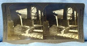 Photograph  Steel Mill LADLE POURING of MOLTEN METAL into PIG IRON MACHINES - PA USA Stereo View  - Keystone View Card - vintage paper