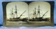 Training SHIP Boston Harbor MA  Stereo View  - Keystone View Card - vintage paper