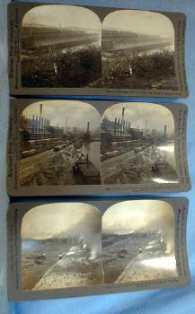 Photo  Mining USA Stereo View Group * View of Ovens Loading Coke into Cars * Steel Plant Monongahela River PA * Ore Docks, Two Harbors MINN *   Keystone Stereo View Card Group - vintage paper item