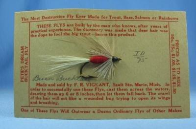 old Hand Tied Fly Fishing Lure - BROWN BUCKTAIL  - Trout Bass Salmon Rainbow Bait - sporting