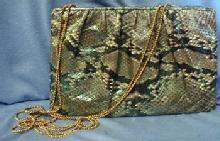 Judith Leiber Evening Bag Clutch - Snakeskin Designer Signed Purse