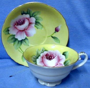 Yellow with Rich Pink Flower - Porcelain Pottery Cup and Saucer