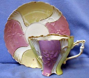 German Pink Luster Cup & Saucer - German Lustre Porcelain