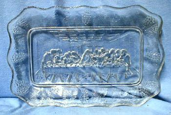 Pressed Glass Bread Tray LAST SUPPER