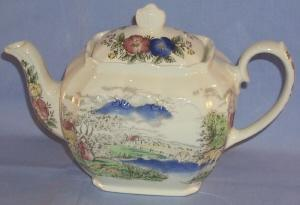 Colorful English Country Scene Porcelain Tea Pot