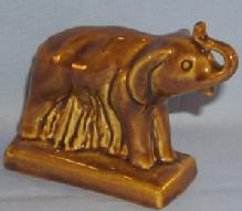Glossy Brown Van Briggle ELEPHANT Pottery Figurine - Porcelain