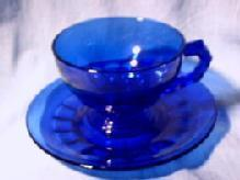 Heisey Cobalt Glass Cup and Saucer set
