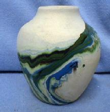 Nemadji Indian Pottery Vintage - Green Mission Swirl