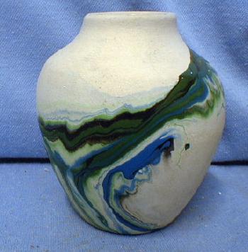 Nemadji Indian Pottery Vintage - Green Mission Swirl