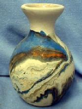 Nemadji Indian Art Pottery  Vase - Blue Gray Orange Mission Swirl