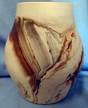 Nemadji Indian Art Pottery Bulbous Vase - Brown Gray Mission Swirl