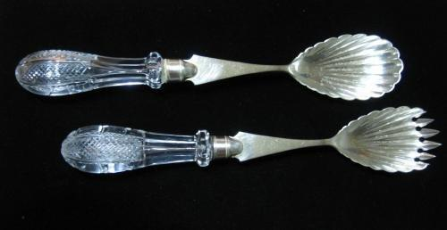 Victorian Silver & Cut Glass Crystal Servers - Classic Antique Spoon & Fork