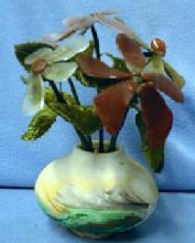 Nemadji Art Pottery with Coral & Agatel Flowers